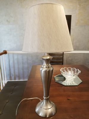 Brushed nickel table lamp with gray shade for Sale in Centreville, VA