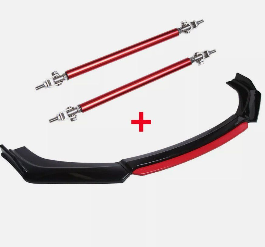 Dodge Charger SRT RT SXT Red Front Bumper Lip Spoiler Splitter + Strut Rods