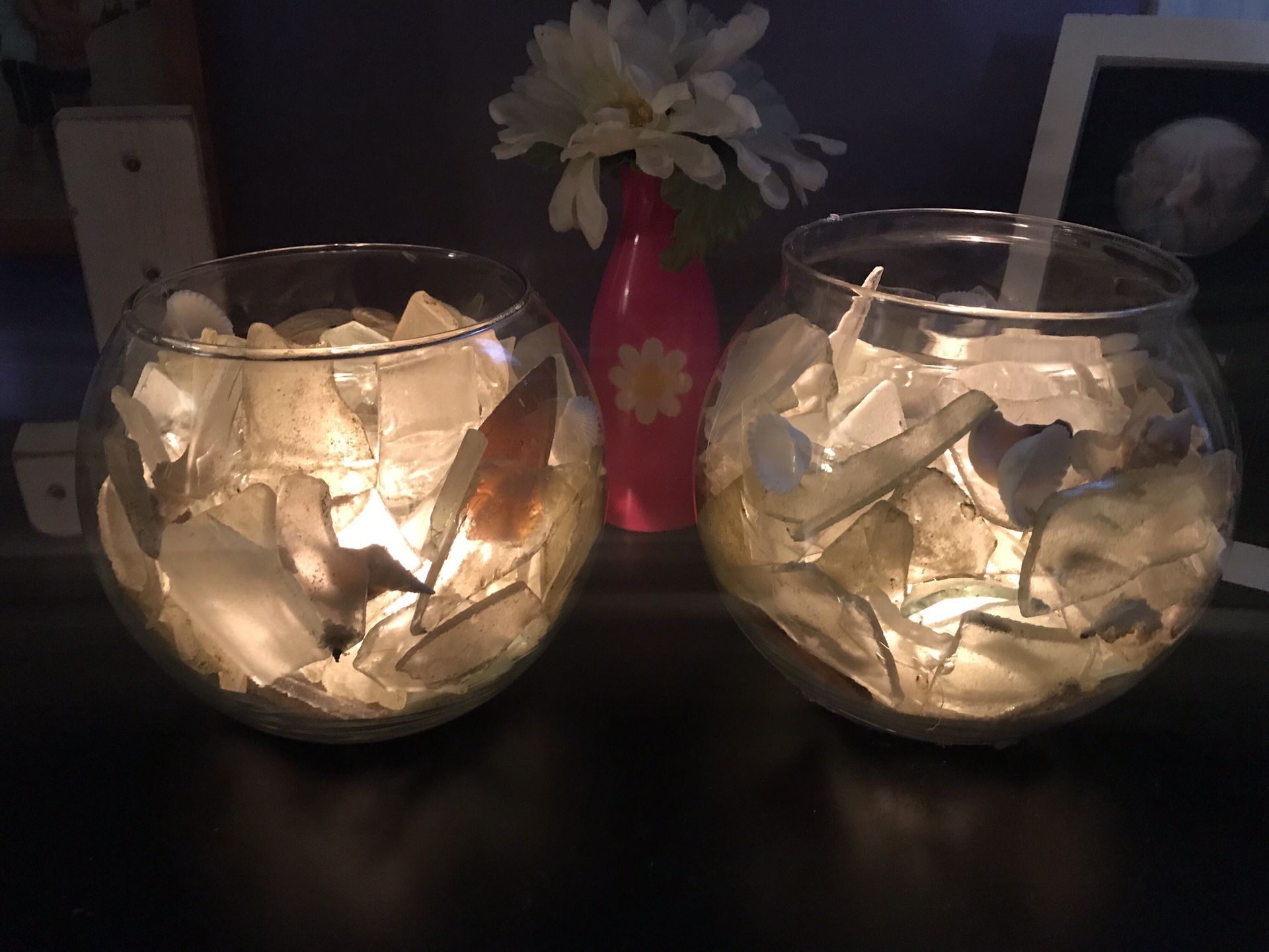 Sea glass Candle Holders