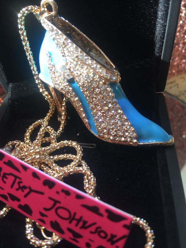 f24995d13b Betsey Johnson blue high heel-boot rhinestone   enamel on a gold chain