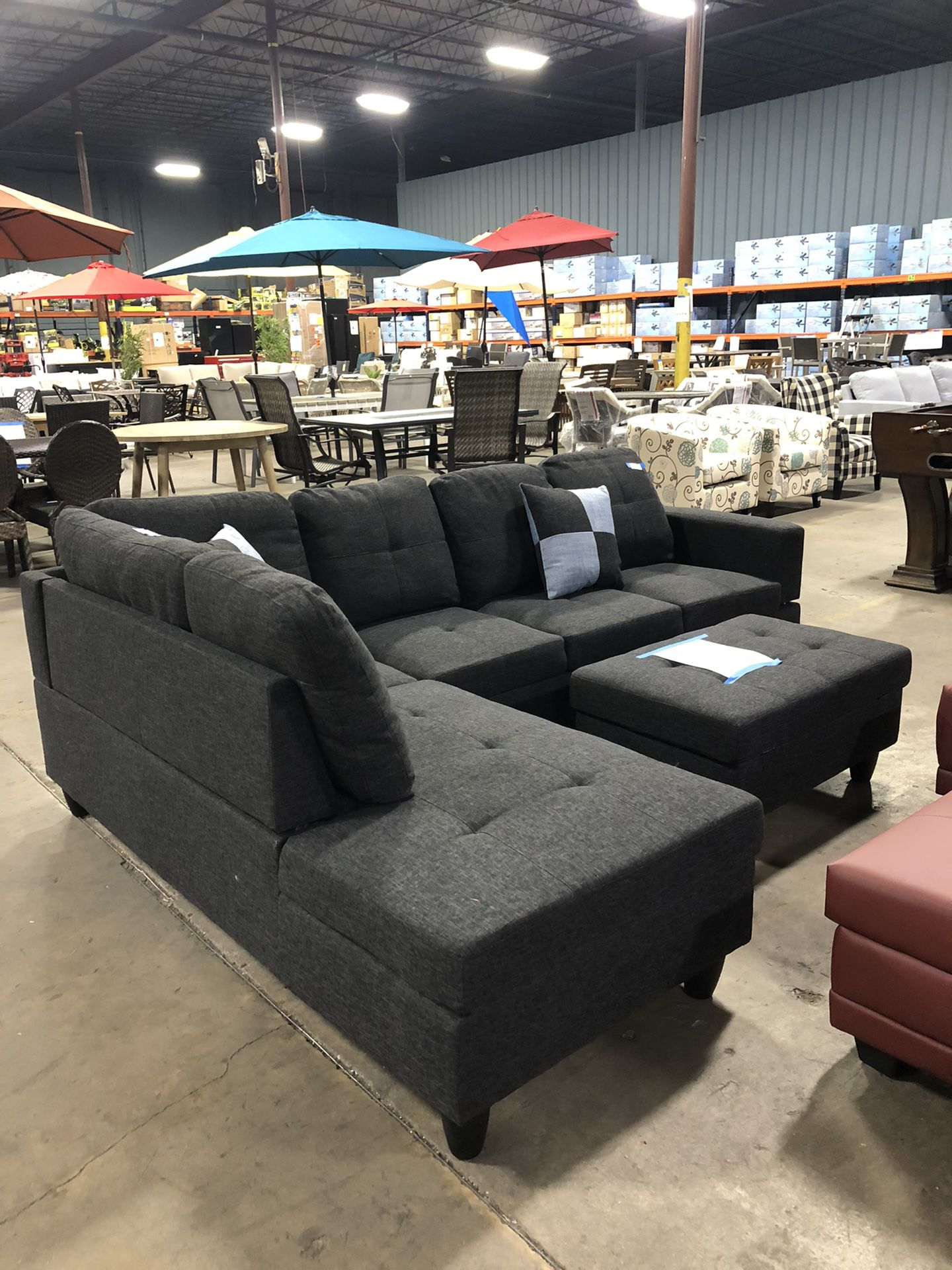 🛋NEW ARRIVAL🤩 3-Piece Jet Black 4-Seater Sofa with Ottoman 😍