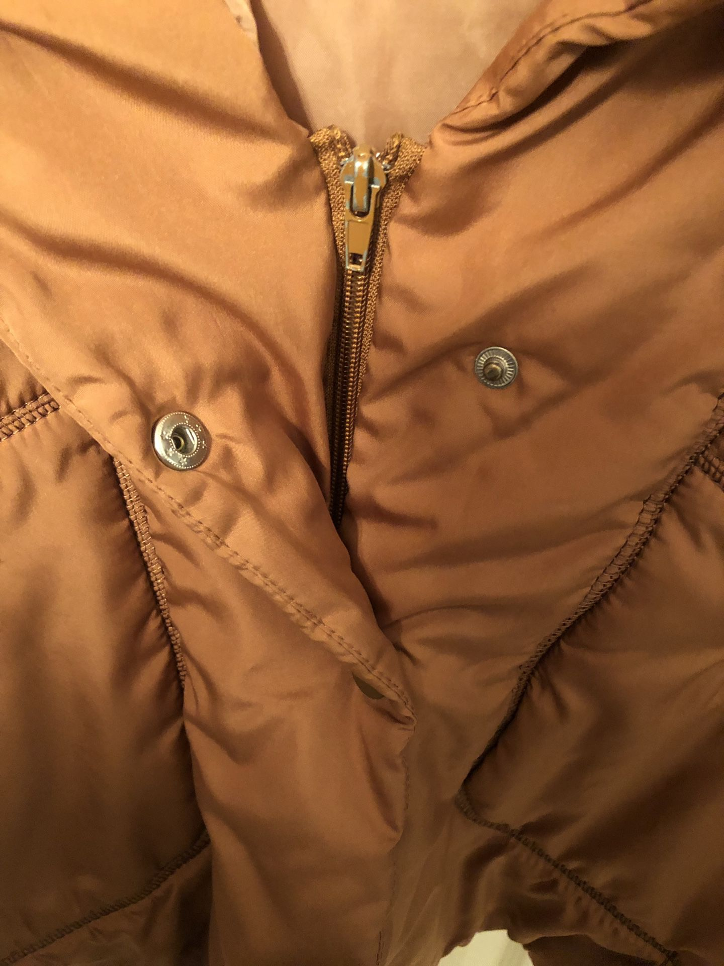 Brown nylon jacket with faux fur