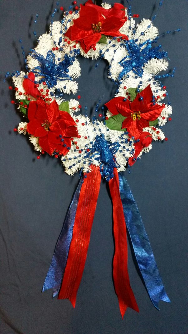 A 24 Red White Blue Christmas Wreath For Sale In Darnestown Md
