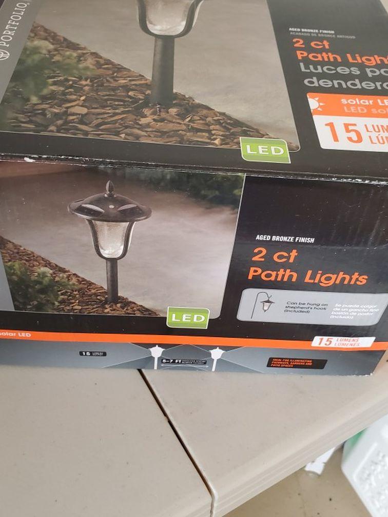 Portfolio2-Pack 12Brighter (14.4-Lumen) Aged Bronze Solar Integrated LED Path Light