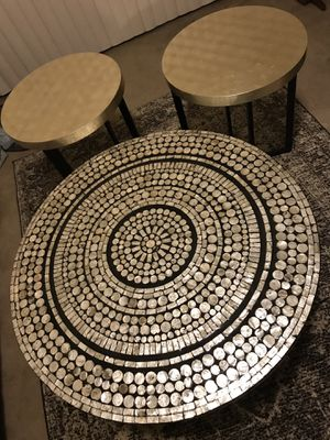 """Set of 3 living room tables set handcrafted mosaic coffee 31x18"""" two end 18x20"""" message me if you interested for Sale in Montgomery Village, MD"""