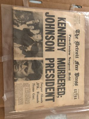 JFK original assassination news paper from Detroit for Sale in Tampa, FL