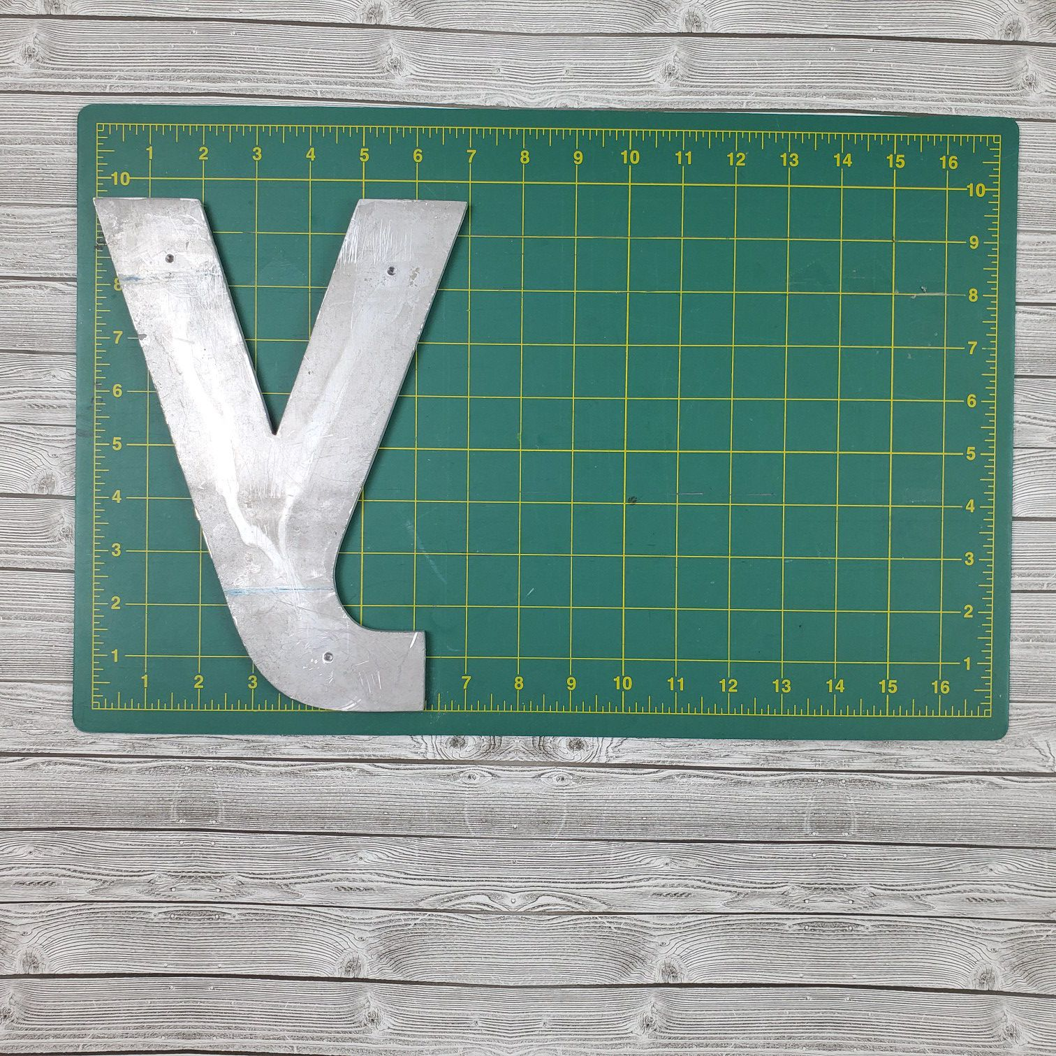 """Lot of Reclaimed Aluminum Sign Letter w/Threaded Mounting Holes - 7"""" & 10"""""""