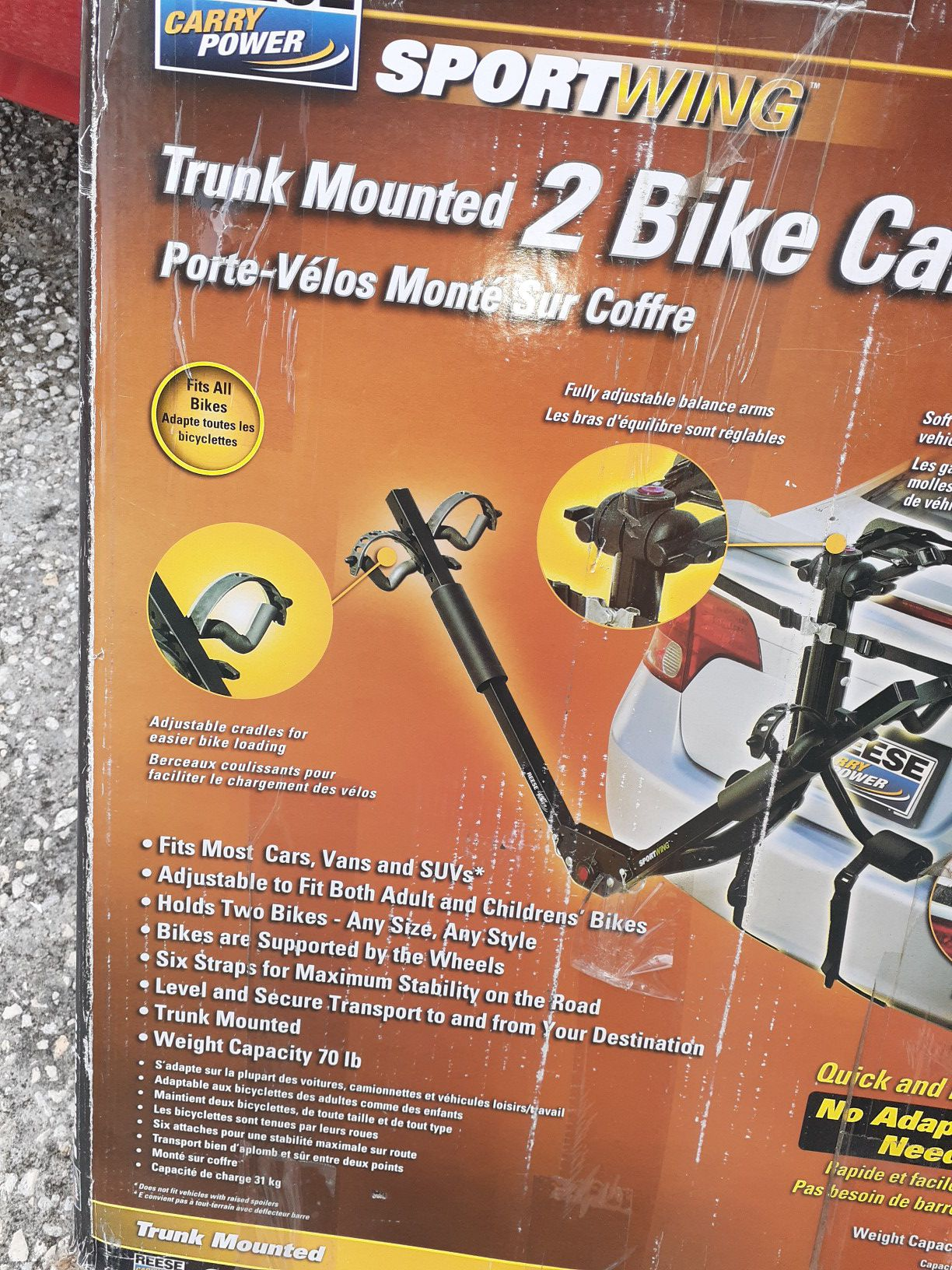 Reese sportwing trunk mounted 2 bike carrier