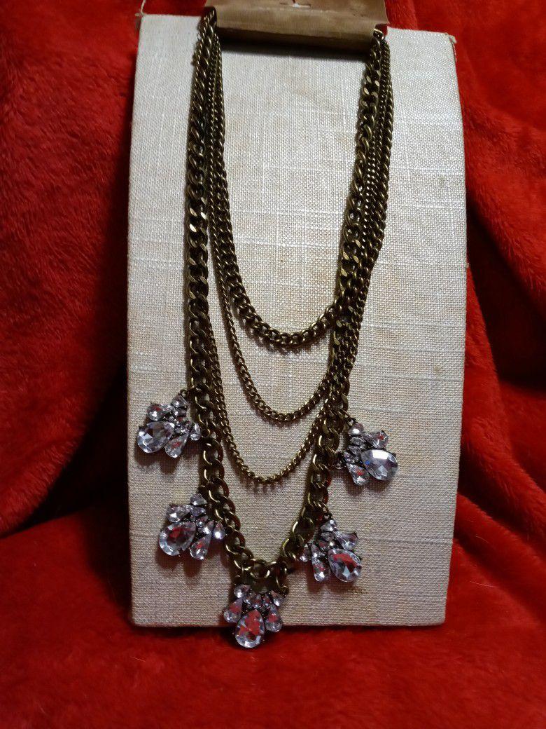 $10 Arizona Jean Company Crystal And Metal Necklace