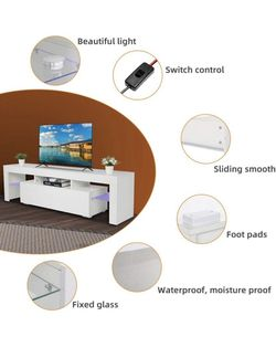 """New 63"""" White TV Stand With LED light - Entertainment Center - TV Cabinet with Storage Thumbnail"""