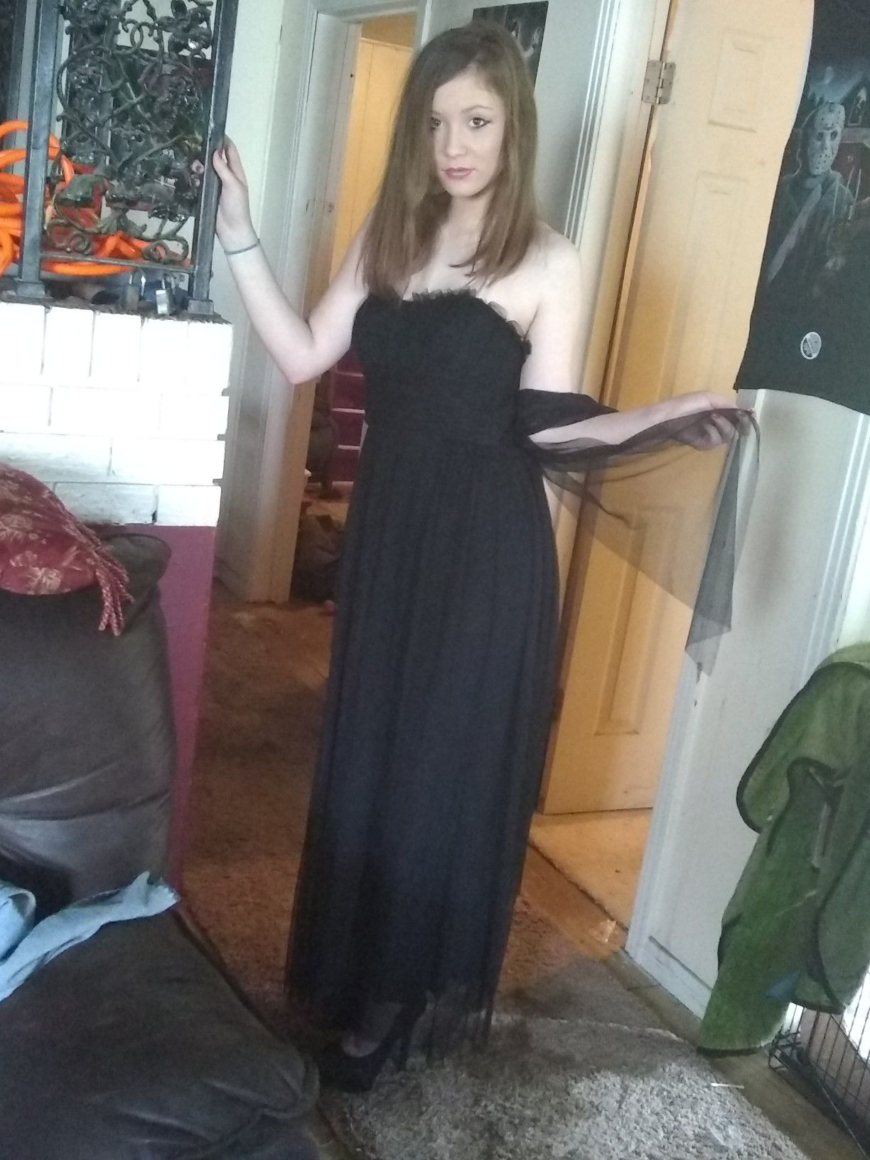 Vera wang size 2 black halter with long sheer now and over fabric
