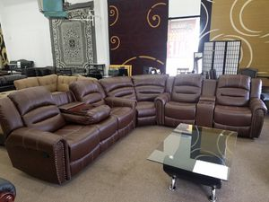 Brand new light brown color reclining bonded leather sectional for Sale in Beltsville, MD