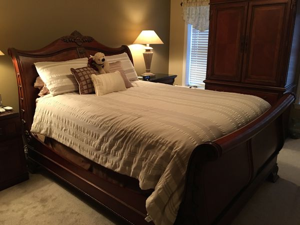 BEDROOM FURNITURE- QUEEN SLEIGH BED, DRESSER, ARMWAR, and NIGHT ...