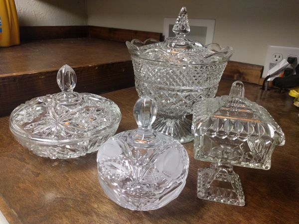 Vintage Crystal Candy Dish Bowl With