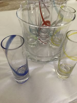 Glass Shooter Set-8 shooter glasses in different color swirls and glass serving container. I'll ship. for Sale in Keysville, VA