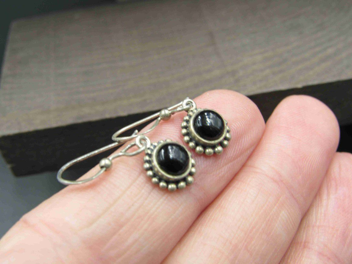 Sterling Silver Small Black Material Rustic Earrings Vintage Wedding Engagement Anniversary Beautiful