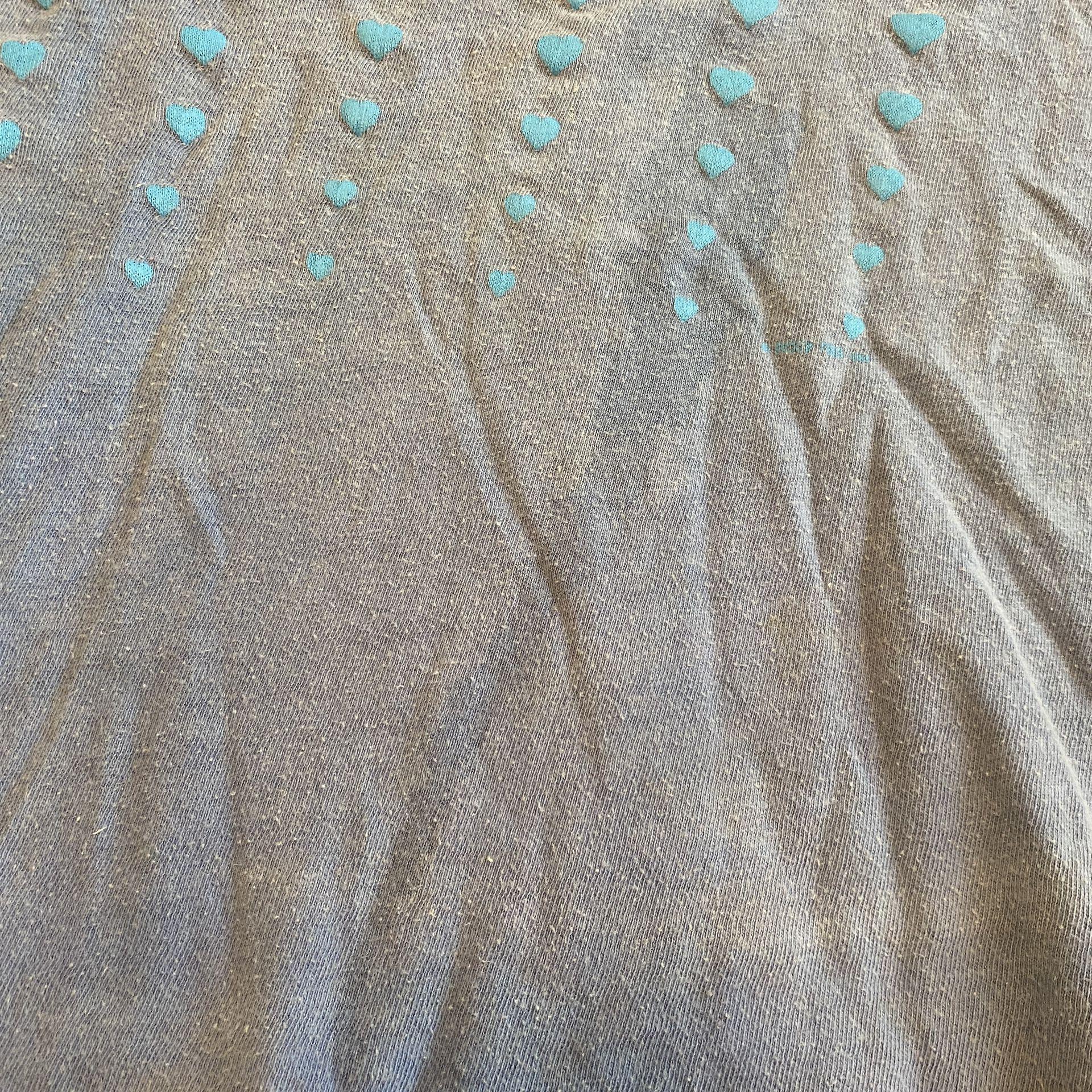 Vintage 90's Oregon Hearts Cropped T-Shirt Blue Single Stitched Size Medium
