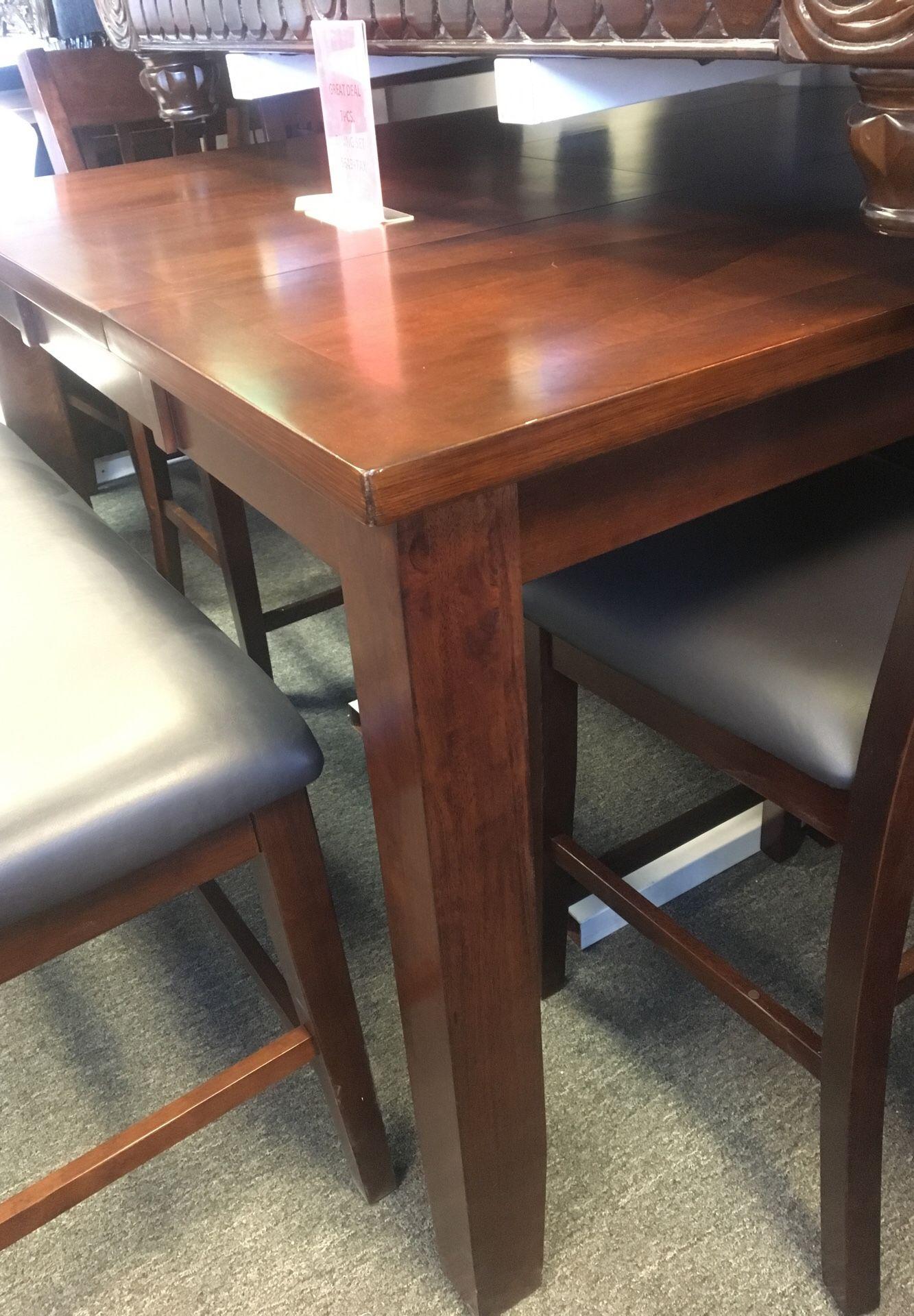 Solid wood dining set used as display