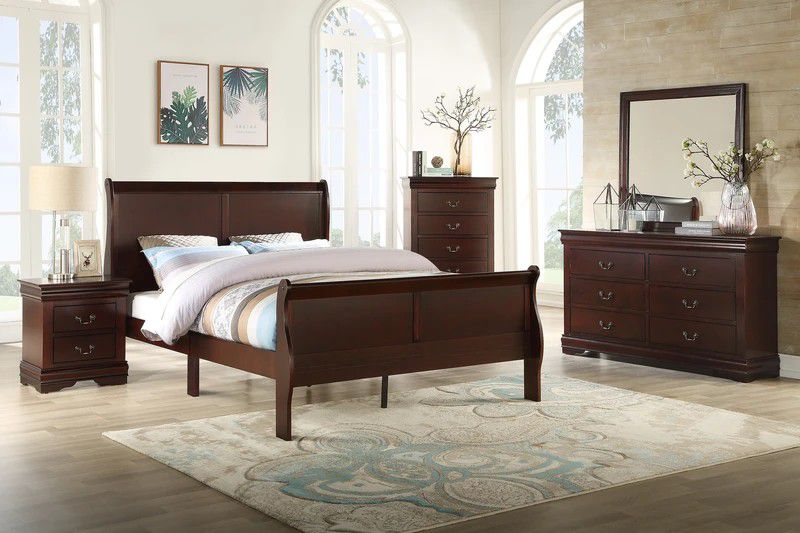Brand New Louis Philip Cherry Sleigh Bedroom Set  🦋Queen King Twin Full 🦋 Bed Dreser Miror İncludes Nightstand🦋SAME-DAY FREE DELIVERY