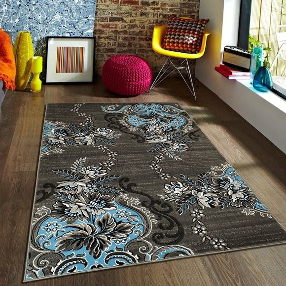 Grey And Turquoise Color Area Rug Brand New 8x10 Foot For