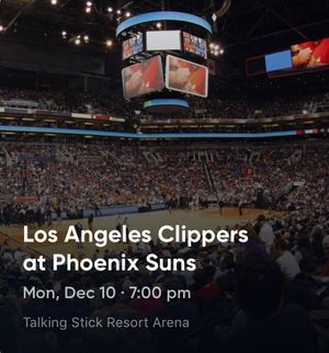 Suns vs. Clippers 12/10 for Sale in Phoenix, AZ