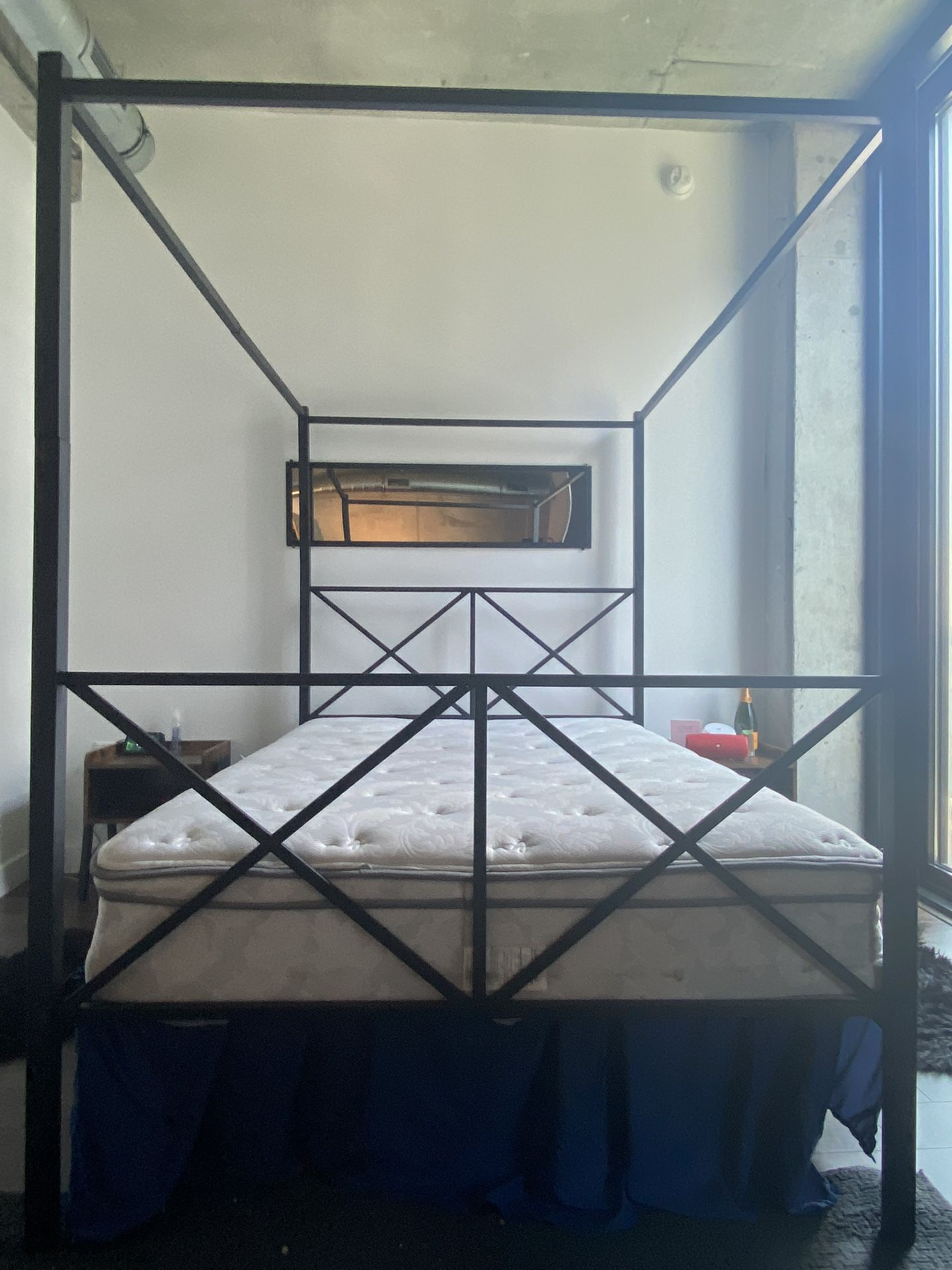 Full Size Canopy Bed and mattress