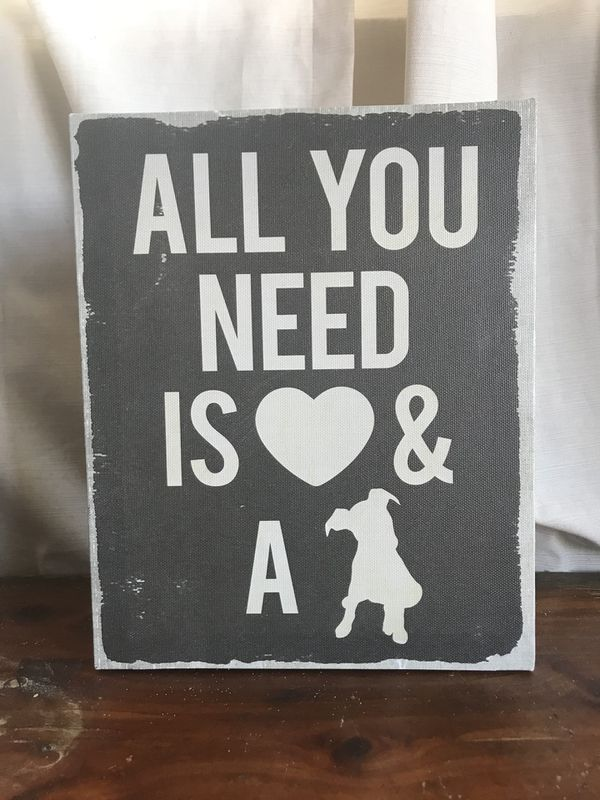 All You Need Is Love A Dog Canvas Picture Sign Home Decor