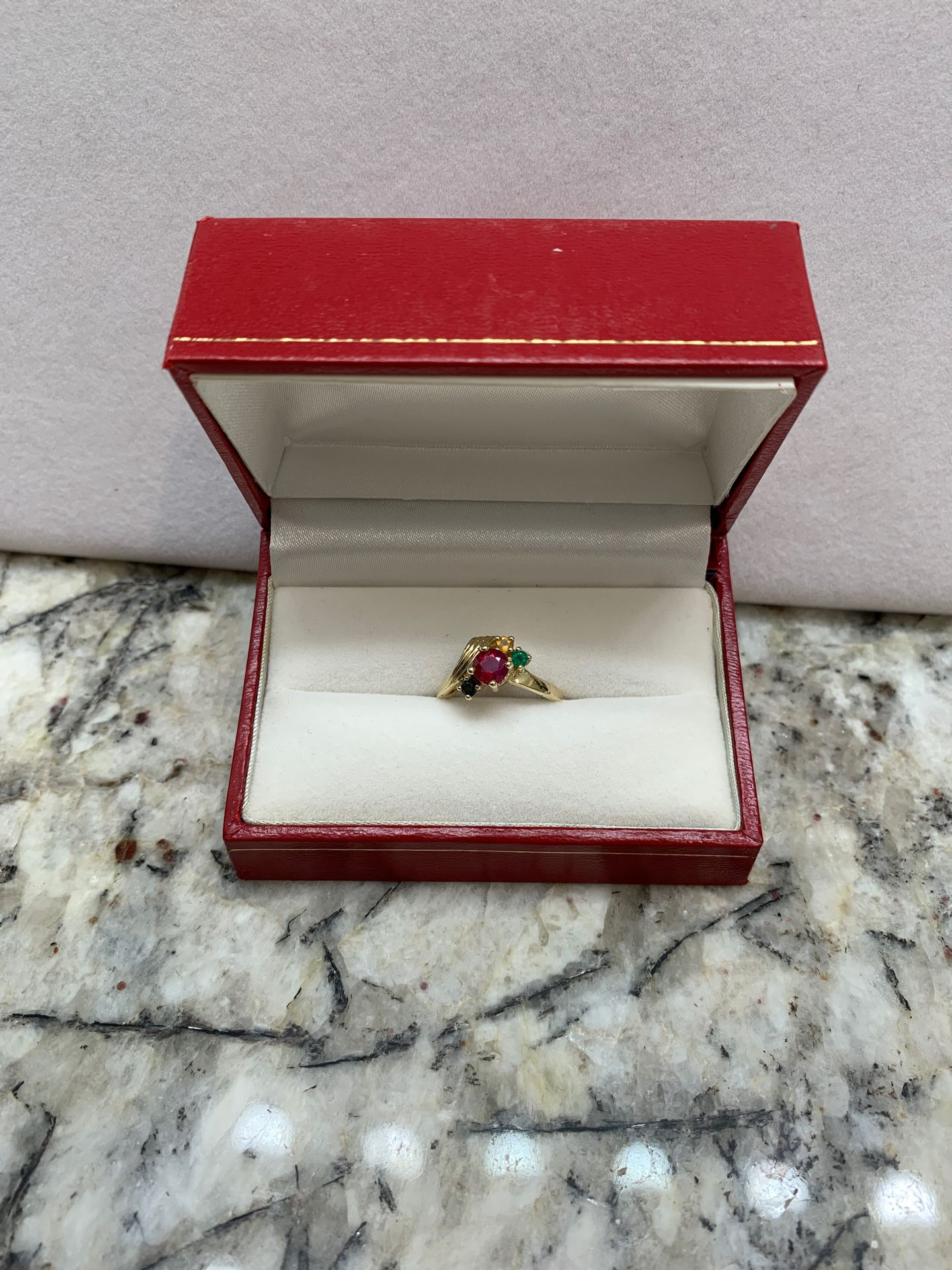 14K GOLD RING WITH RUBY, SAPPHIRE AND EMERALD