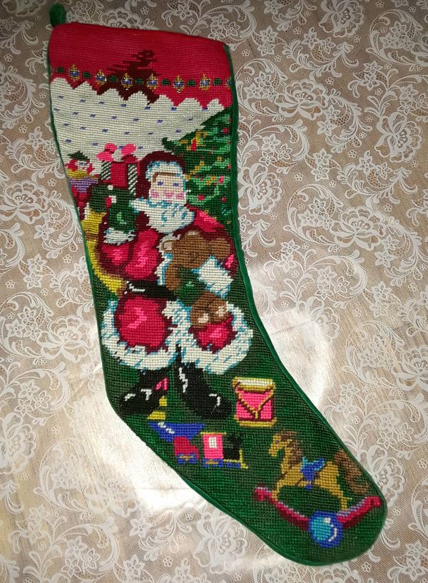 Vintage Needlepoint Christmas Stockings.Vintage Needlepoint Velvet Christmas Stocking For Sale In Chicago Il Offerup