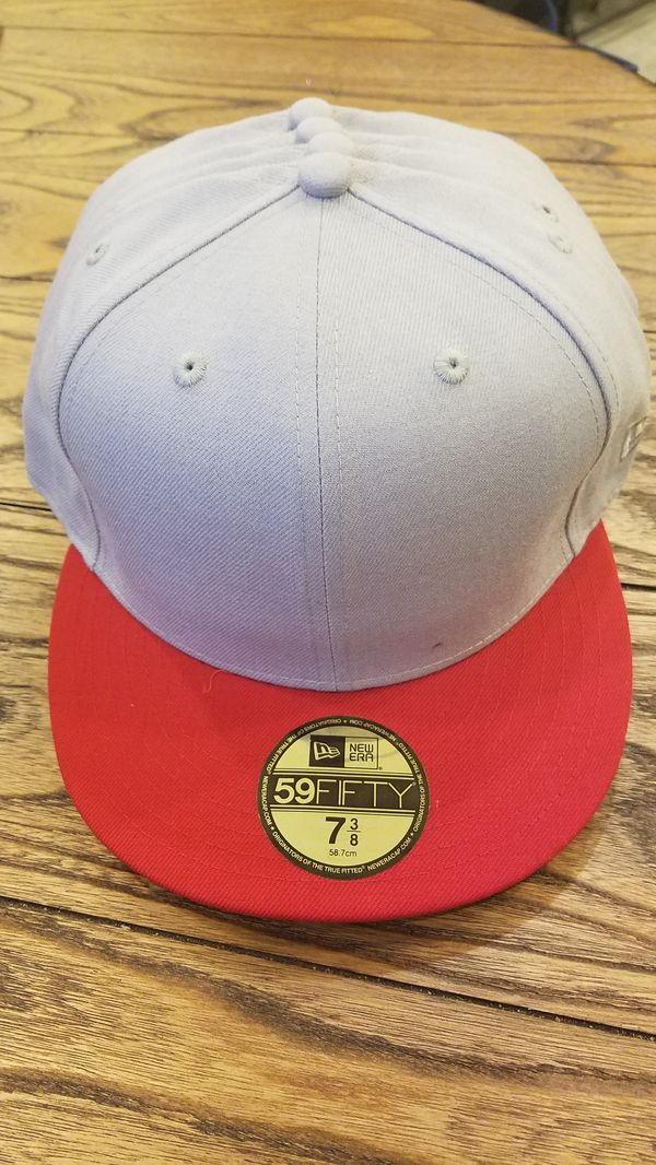 New Era hat   cap fitted blank red on gray 59fifty ready to be customized 2a7c8bf7cbd4