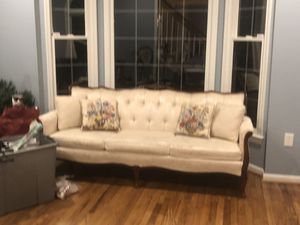 Cream damask sofa with embroidered pillows. Small hole in fabric- covered by pillow. Very pretty! $50 takes it today only 12/9. Manassas. for Sale in Manassas, VA