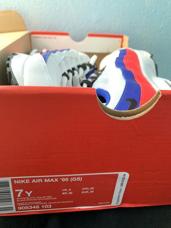 Nike Air Max 95 GS White Black Solar Red Shoes 905348 103
