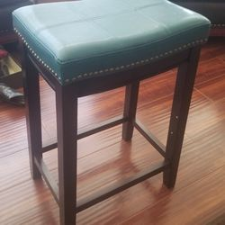 Leather Turquoise Stools with gold studs Thumbnail