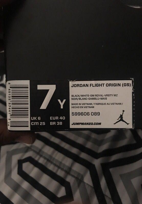 Jordan flight origin (GS) size 7Y