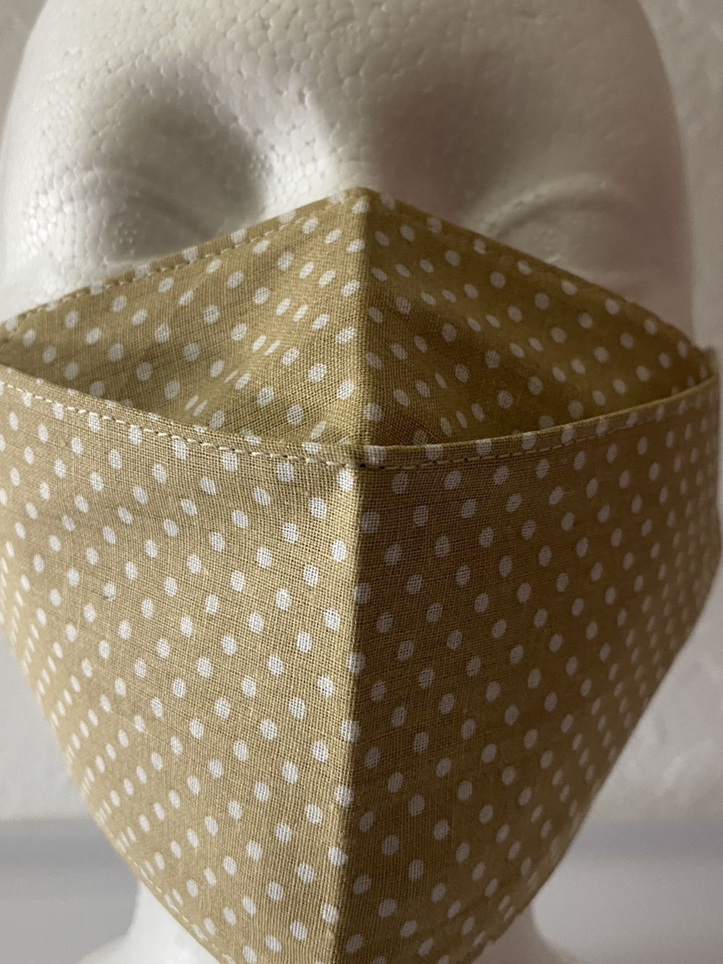 3D Face Mask Adults (Polka Dots Beige)-P10