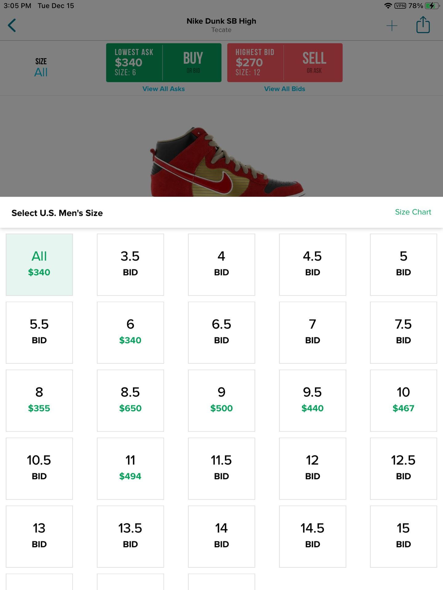 Nike SB Dunk High Tecate Size 12