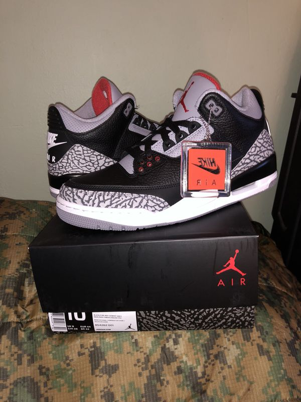 first rate 3ccd4 cfb4a Air Jordan Retro 3 III Black Cement Size 10