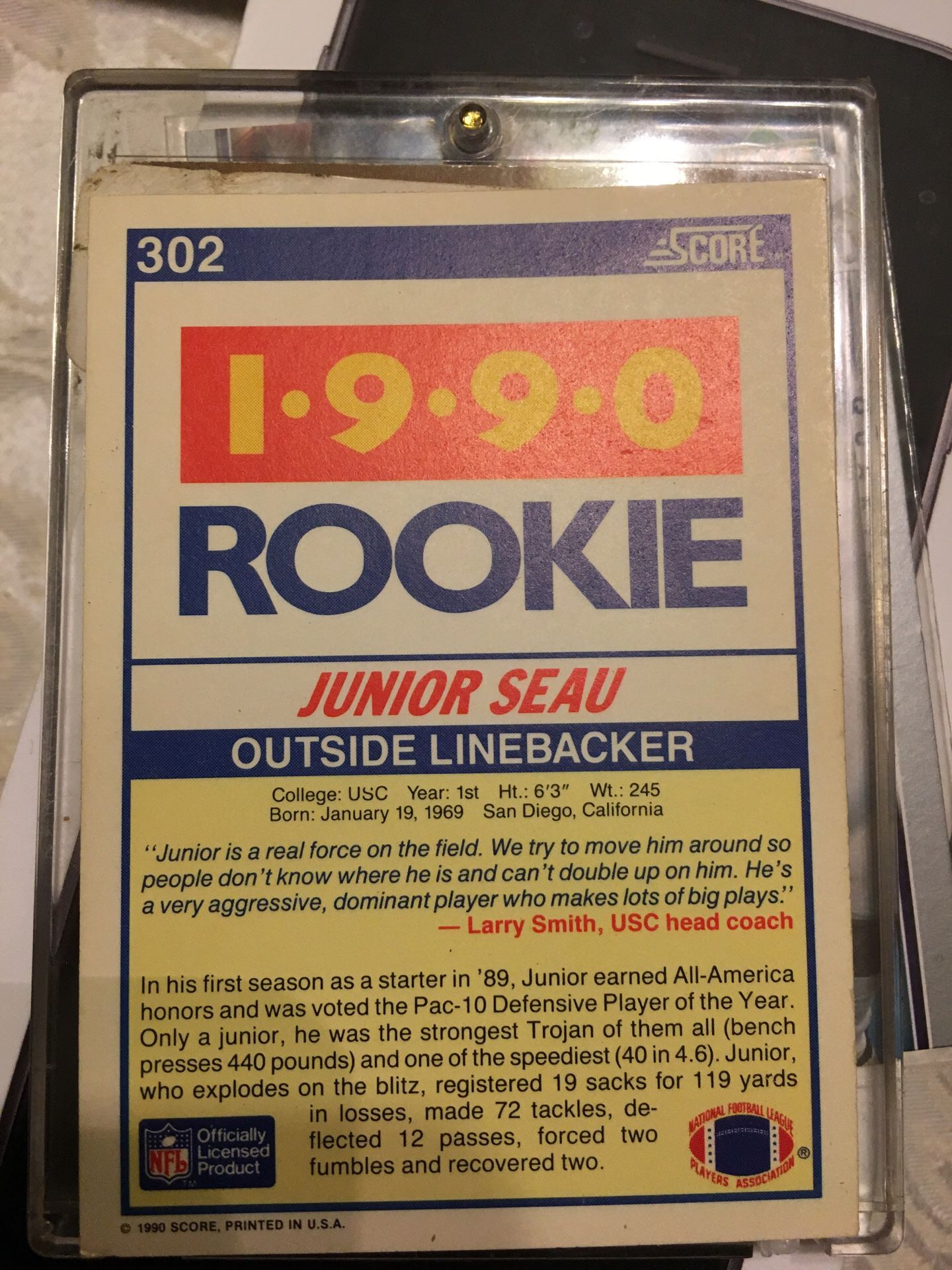 Junior seau rookie card 1990