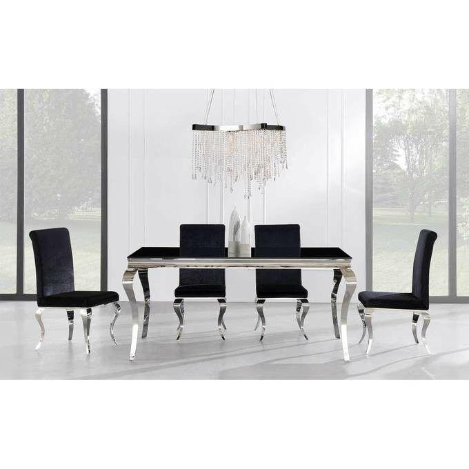 In Stock Ada Black Glass Dining Set | D858DT  byGlobal USA