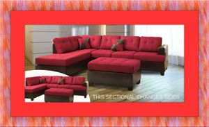 Red sectional free ottoman and delivery for Sale in Hyattsville, MD