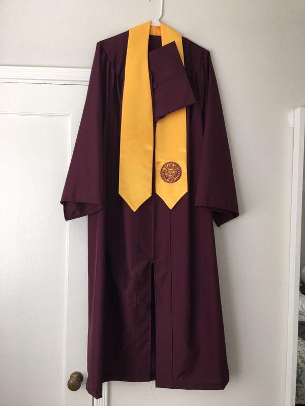 ASU cap and gown plus stole of gratitude regalia 5\'8\