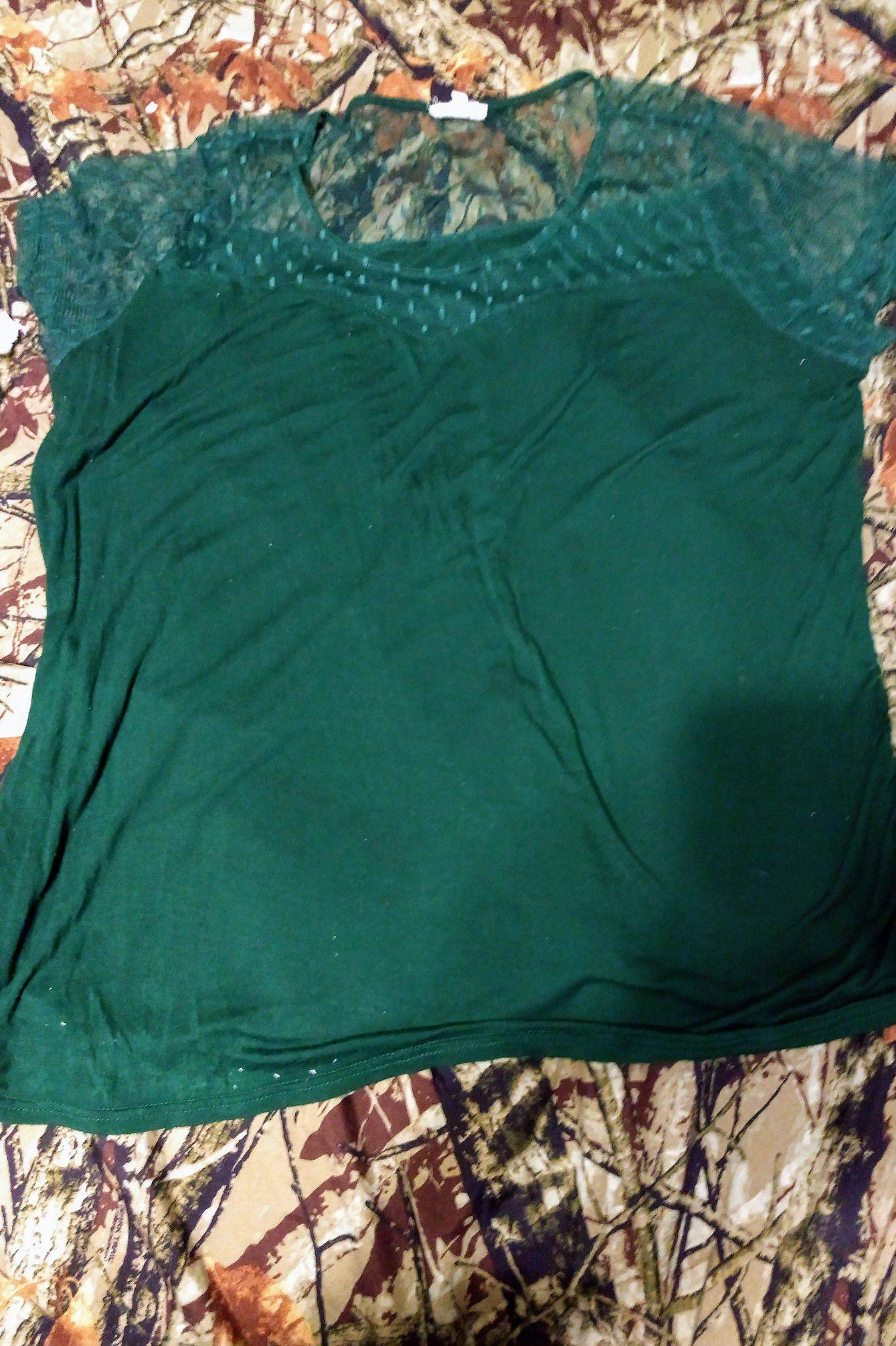 Siren Lily Forest Green short sleeve shirt 3x