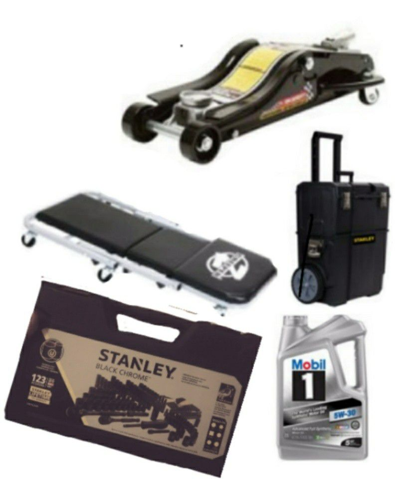 Low pro jack, creeper/seat, Stanley rolling tool box, Mobil one 5w30 full synth, Stanley 123pc black chrome mechanics tool set