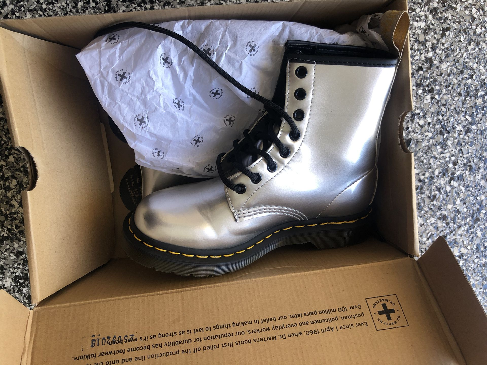 NEW Silver Dr Martens Womens Size 6