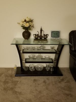 Console Table Cherry Wood & Glass for Sale in Arlington, VA