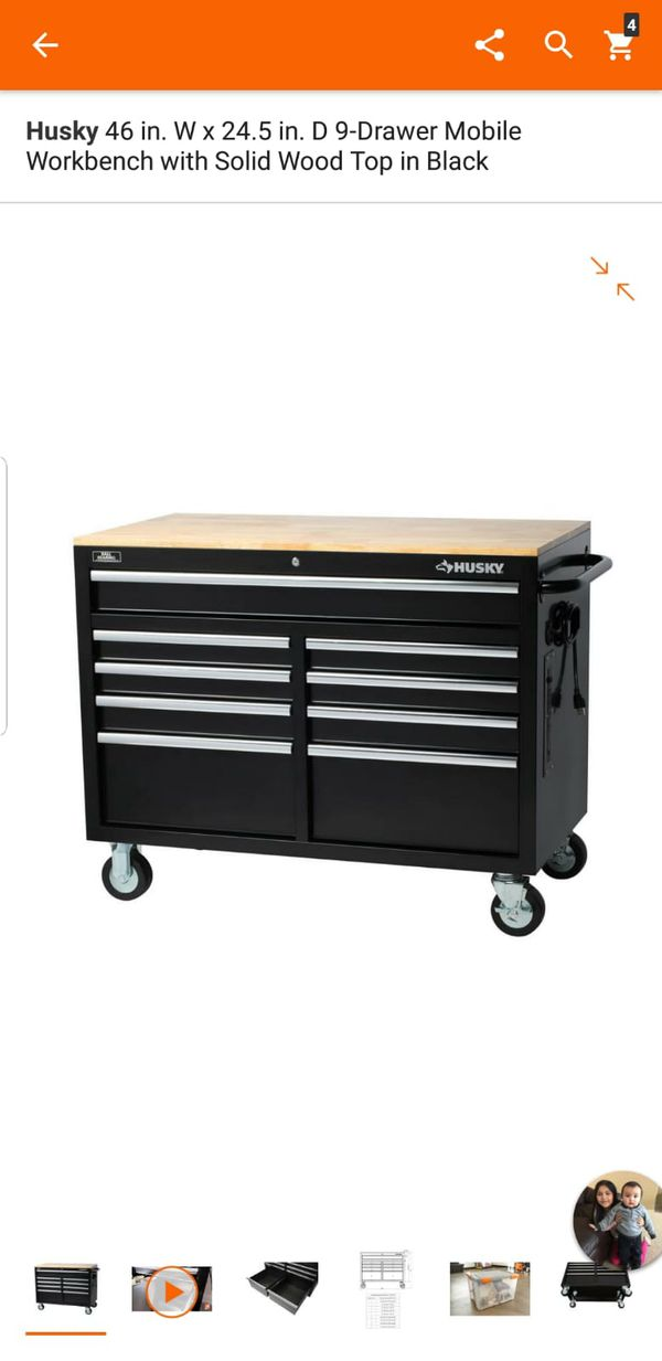 Husky 46 In W X 245 In D 9 Drawer Mobile Workbench With Solid