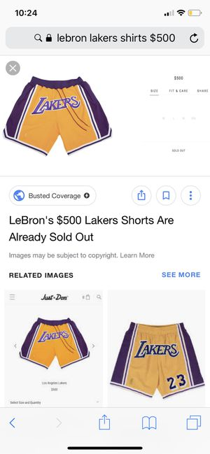 2b01fc696d5 Lebrons Laker Shorts (Authentic) with Bag SIZE LARGE for Sale in Brooklyn,  NY - OfferUp