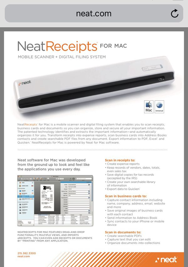 Neatreceipts mobile scanner and digital filing system for mac for 100 reheart Choice Image