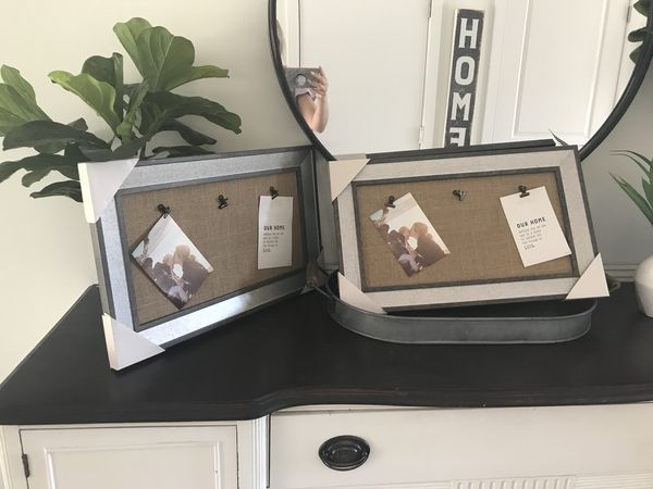 Adorable wooden frames with burlap center and clips for hanging. $40 ...