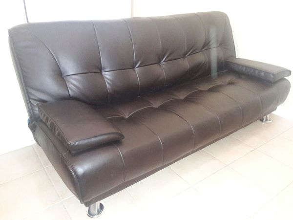 Braxton Leatherette Sofa Bed Brown Chrome Legs Dimensions